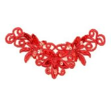 Red Guipure Lace Motif